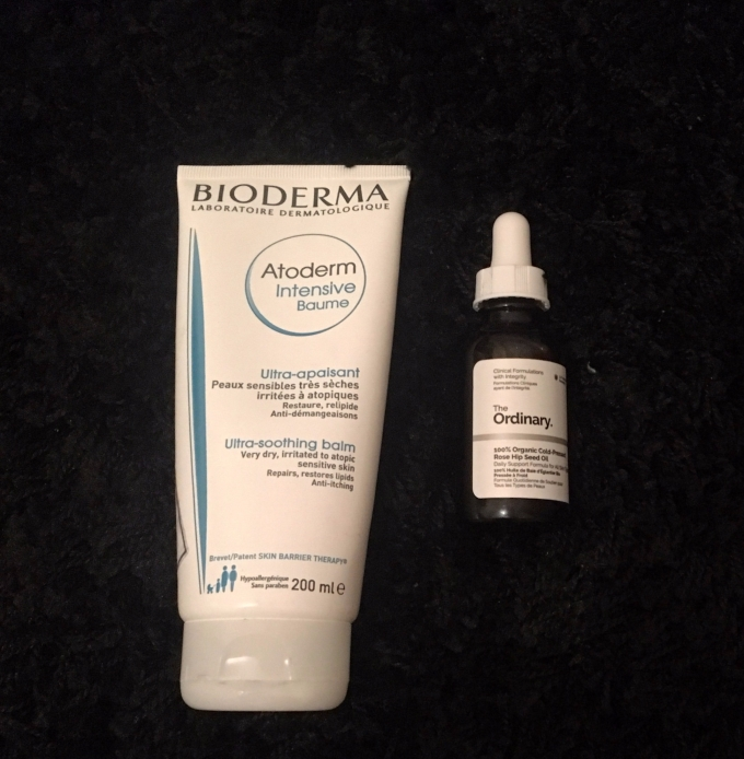 Winter Skincare Regime to beat dry skin. Using Bioderma Atoderm Intensive Baum (Ultra-Soothing Balm) which soothes very dry, irritated atopic sensitive skin. Also using Deciem's The Ordinary 100% organic cold-pressed Rose Hip oil.