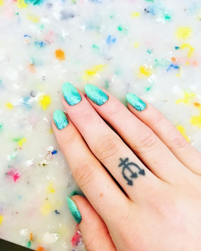 Mint Glitter Ombre Nails by NAF Salon, Glasgow