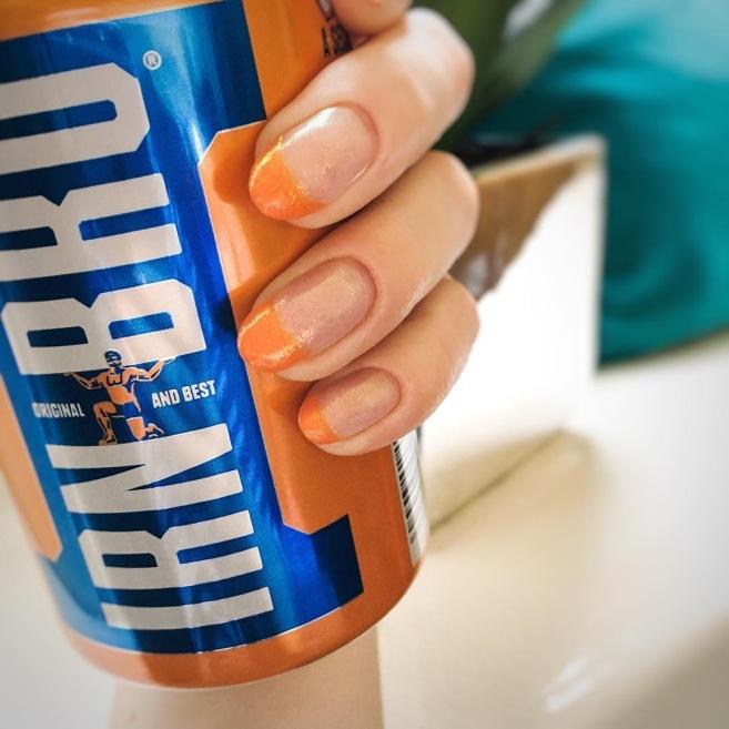 Orange French Nail Polish Covered in Mermaid Dust by Naf Salon, Glasgow