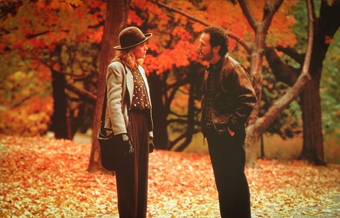 Meg Ryan and Billy Crystal take a walk in autumnal Central Park in When Harry Met Sally