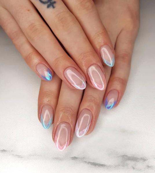 Pastel Glitter Chevron Nails - NAF! Glasgow